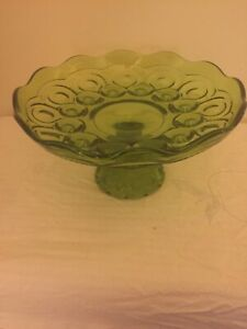 LE Smith Moon & Stars Green Open Compote Cake Stand Plate