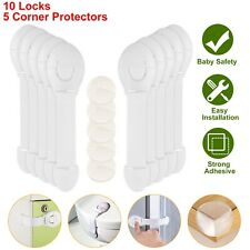 10pcs Baby Child Safety Cloth Locks w/ 5 Furniture Corner Protectors for Drawer