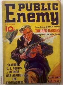 PUBLIC ENEMY Dec 1935  VG+ Crime Pulp  Classic Saunders cover. First Issue.