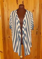 M&S denim blue cream stripe knit LINEN short sleeve waterfall cardigan top 12 40