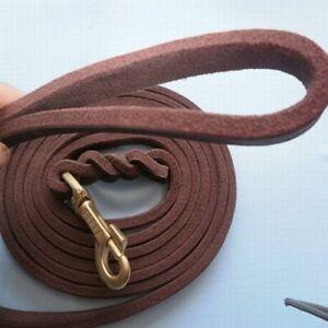 Braided Genuine Leather Dog Leash Heavy Duty Pet Training Lead Burgundy NEW