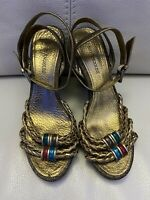 Enzo Angiolini gold leather upper rope wedge strappy sandals, Size 6.5 heels