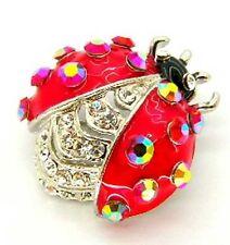 Nueva plata tono rojo esmalte AB cristal Ladybird Broche Ladybug En Caja De Regalo azbr0