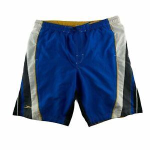 Speedo Men's Medium Board Shorts Black White and Yellow Swim Trunks