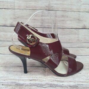 Michael Michael Kors Heels Womens 9 M  Leather Strap Stiletto  Sandals Red