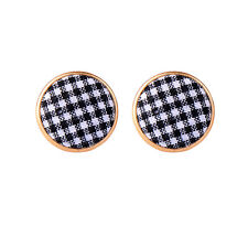 ed00822c Fashion Red Black Plaid Round Buttons Earrings New 2018 Jewelry Gifts
