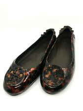Tory Burch Minnie Tortoise Shell Patent Leather Travel Ballet Flats $228 7M Auth