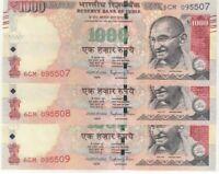Indian 1000 Rupee Banknotes - Running Serial