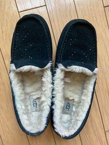 UGG Australia black sheepskin slippers women US12
