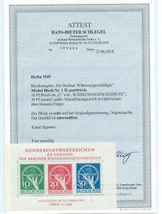 Berlin Block 1 II postfrisch **, neueres Attest FA H.-D. Schlegel, einwandfrei