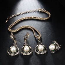 Turkish Style Bridal Faux Pearl Necklace Ring Earrings Jewelry Set Gift Dreamed