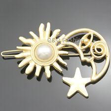 Paparazzi Runway Gold Sun Pearl Moon Star Hair Pin Clip Head Dress Snap Barrette