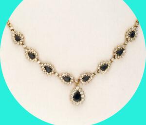5.50CT VS diamond sapphire teardrop halo necklace 14K YG pear birthstone 24.2 GM