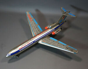 1960's Vintage Japan Japanese Tin Toy Friction Boeing 727 Airplane T-BHED Model