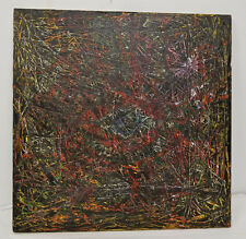 Vintage MCM Mid Century Abstract Drip Painting Signed Drip Oil on Canvas