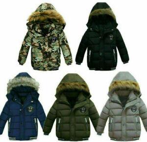 KIDS WARM COATS THICK WINTER BABY BOYS HOODED COATS OUTWEAR WINDPROOF JACKETS UK