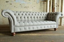 MODERN HANDMADE 3 SEATER REGENCY LIGHT GREY WOOL CHESTERFIELD SOFA COUCH CHAIR