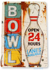 Bowl Sign Bowling Ball Rustic Alley Sports Metal Sign Decor Tin Sign B117