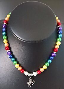 UNICORN RAINBOW GLASS PEARL AND CHARM PENDANT NECKLACE WITH LOBSTER CLASP