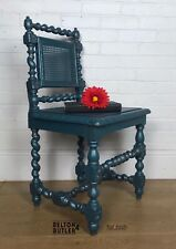 Blue and Silver Barley Twist And Ornate Carved Rustic Solid Wood Chair