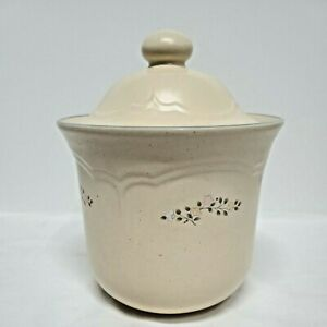 Pfaltzgraff Remembrance Coffee 6.5in Tan Canister Lid USA Flowers Pink peach