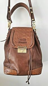 Brown Leather Snakeskin Trim Bag Backpack MIMCO Convertible Gorgeous