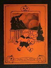 1920's Halloween Party Invitation / Whitney / Boy w/ Jack O Lantern Ghosts Moon