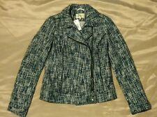BNWT Woman's Biker Style Textured Jacket Size 8 Blue and White
