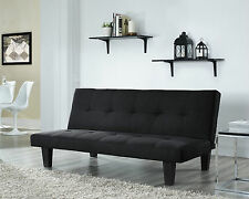 Fabric 3 Seater Sofa Bed Faux Suede Fabric Design Black Home Office Living Room