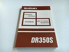 SUZUKI DR 350 S (dk41) Owner's Manual/lessivée E 'manutenzione (1992)