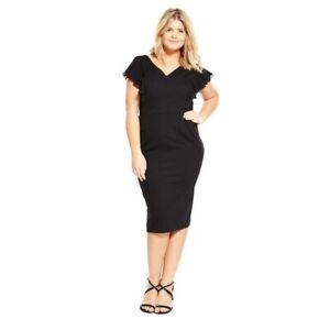 Midi Bodycon Pencil Dress Size 14 Black Curve Ruffle So Fabulous BNWT RRP £44