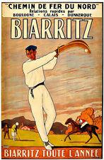 Travel Biarritz Golf Polo Pelota Basque Coast  Holiday Vacation Poster Print