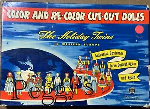 """1948 CELCO CORPORATION """"COLOR AND RE-COLOR CUT OUT DOLLS THE HOLIDAY TWINS"""" #71"""