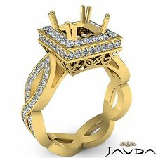 Princess Cut Semi Mount 1.3Ct Diamond Engagement 18k Yellow Gold Halo Pave Ring