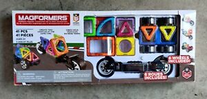 Magformers 41 Piece Magnetic Construction Set With 6 Wheels New Damaged box