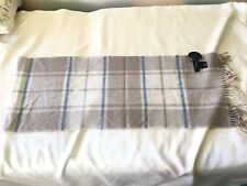 100% Cashmere Bloomingdales Scarf Blue Gray Plaid