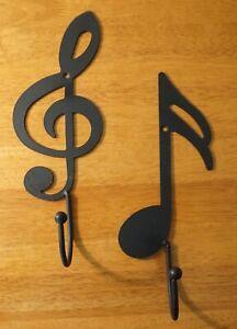 Black Treble Clef Music Note Set Hook Metal Wall Sculpture Music Room Home Decor
