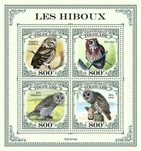 Togo - 2021 Owls, Screech, Great Grey, Barred - 4 Stamp Sheet - TG210114a