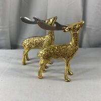 Vintage Brass Christmas Deer Trinket Home Decor Statue MCM Figurine Set of 2