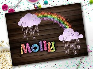 Personalised Name Rainbow Lights Glitter A4 Laminated Kids Placemat Childrens