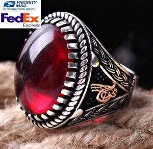 İslamic Ruby Red Turkish Jewelry Handmade 925 Sterling Silver Mens Ring ALL SİZE
