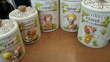Vintage Lot of 5 Treasure Craft Kitchen Canisters Tea Flour Sugar Cookie Coffee