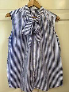 Van Laack ärmellose Schluppenbluse Bluse Hemd Gr L 40 ❤️ blau/weiß gestreift
