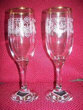 Champagne Flutes  -  Gold-Rimmed Wedding/Anniversary Very Elegant -   #84*