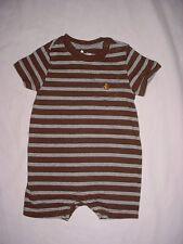 EUC Baby GAP Boys BRANNAN'S FAVORITES Brown & Gray Striped Romper 3-6 M