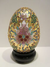 CG206: 3.5''H Chinese Cloisonne Handmade Enamel Brass Copper Gold Egg with Stand