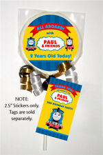 "12 Thomas the Tank Engine Train Birthday Personalized 2.5"" Lollipop Stickers"