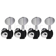 Set 4 Tuning Pegs String Tuners Machine Heads Silver Black for Jazz P Bass Tuner