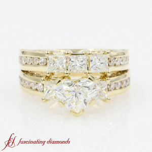 3 Carat Heart Shaped Diamond Ring And Matching Wedding Band In 14k Yellow Gold