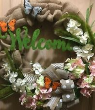 Spring Wreath • Floral Wreath • Butterfly Wreath • Spring Decor • Fabric Wreath